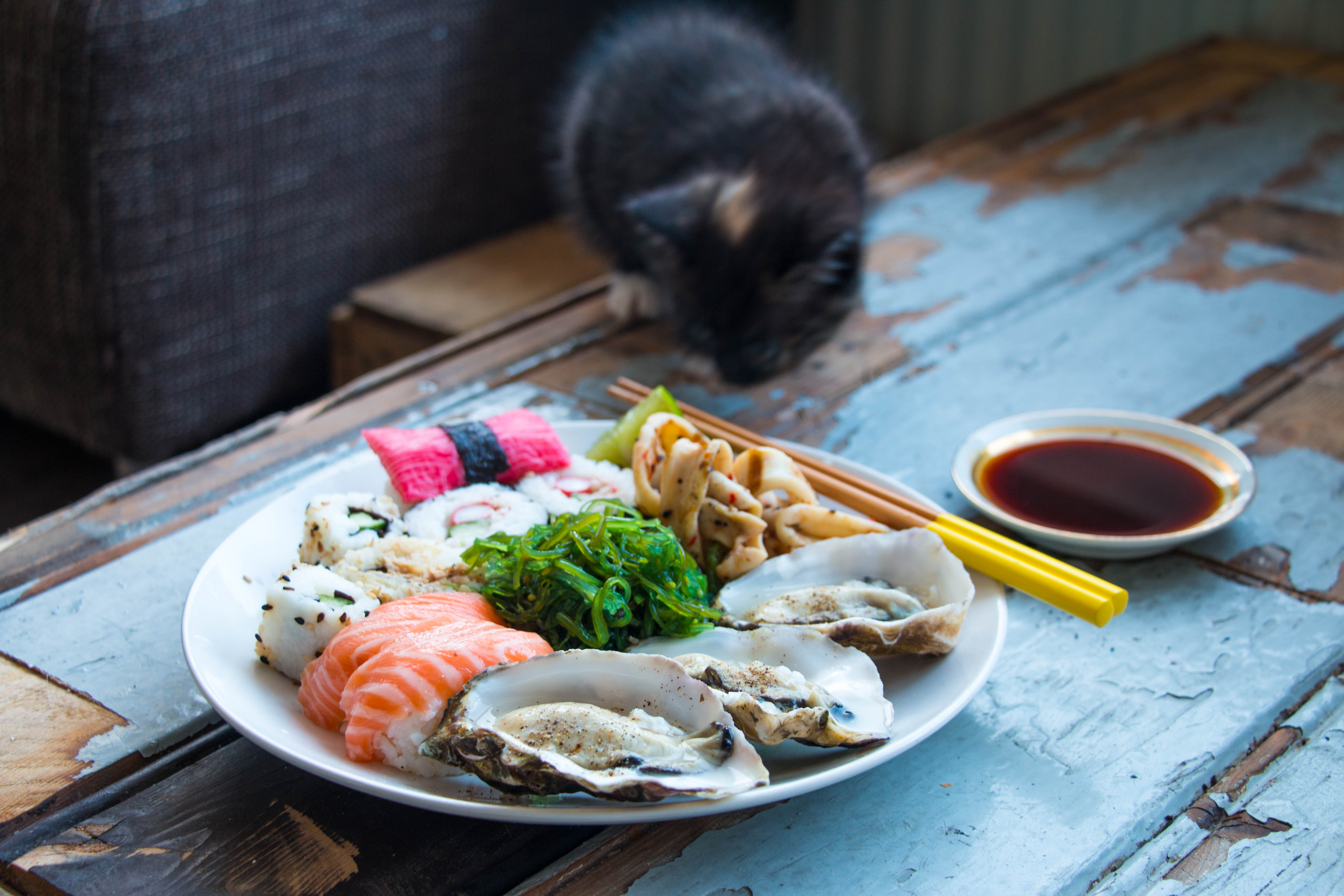 Sushi en Oesters