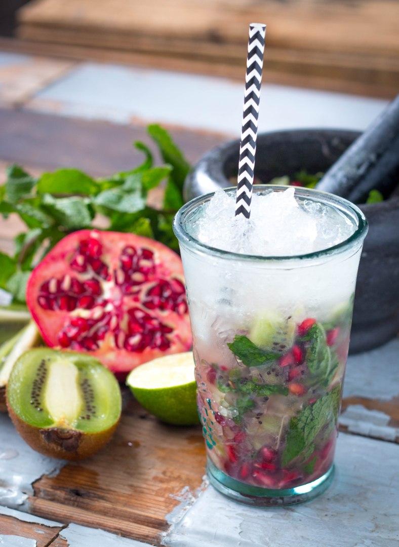 Kiwi Granaatappel Mojito Mocktail